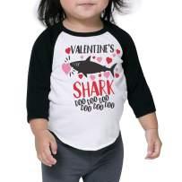 Bump and Beyond Designs Toddler and Kids Valentine's Shark Shirt Boy and Girl 3/4 Raglan