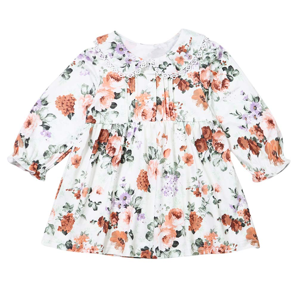 Toddler Little Girl Clothes Long Sleeve Floral Dress Lapel Lace Outfits Set