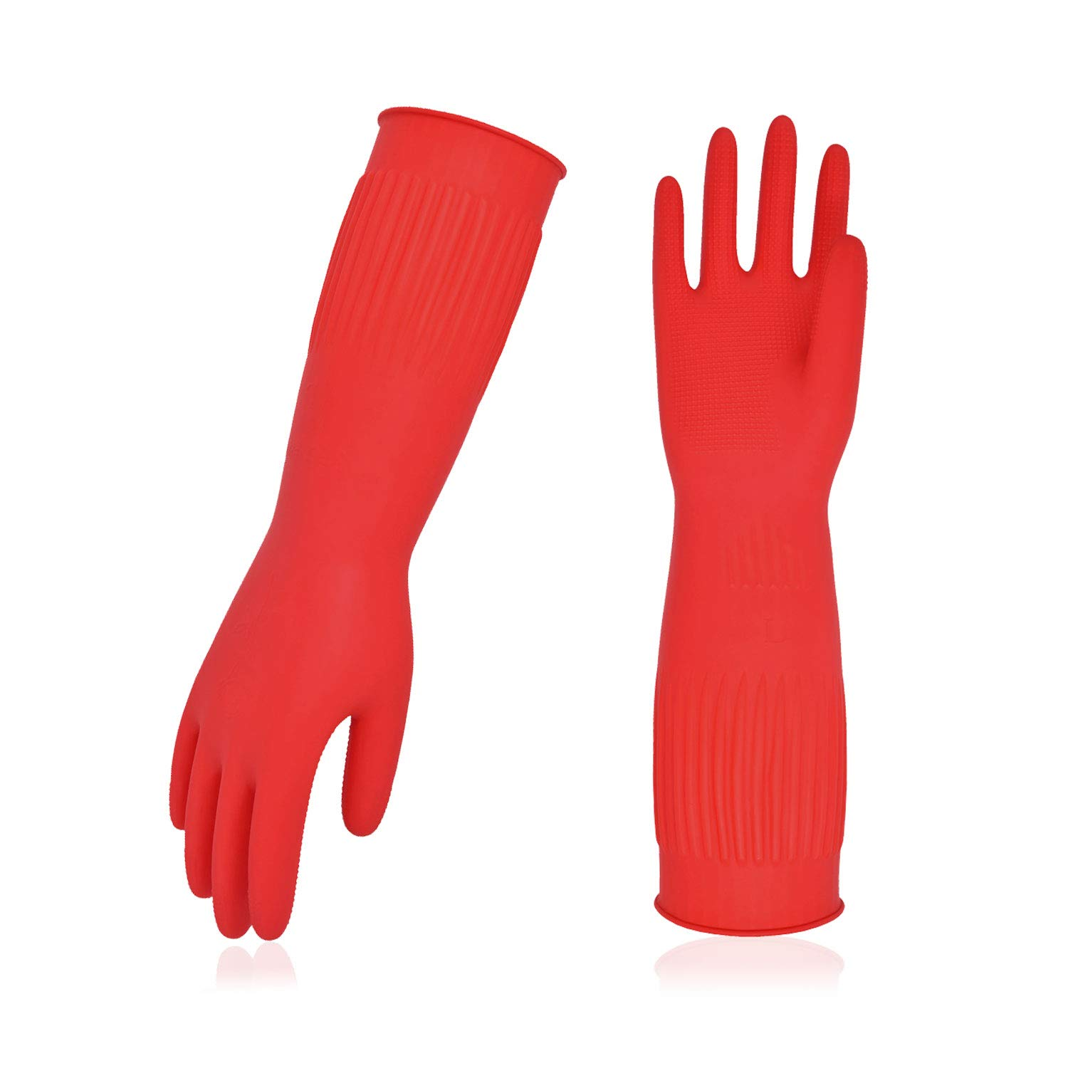 Vgo 10-Pairs Dishwashing Gloves, Reusable Household Gloves, Kitchen Gloves, Long Sleeve, Thick Latex, Cleaning, Washing, Working, Painting, Gardening, Pet Care (Size M, Red, RB2143)