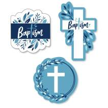 Big Dot of Happiness Baptism Blue Elegant Cross - DIY Shaped Boy Religious Party Cut-Outs - 24 Count