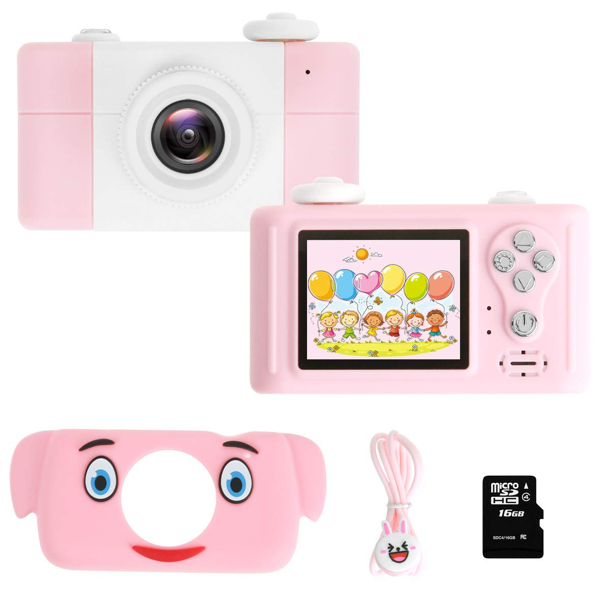 """GZMWON Cartoon Smart Children's Digital Camera 8 MPX, 4X Optical Zoom, 2"""" IPS HD Screen, 17mm Lens for School Students Boys Girls Kids Gift (with 16GB TF Card, Pink Elephant)"""