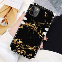 SOKAD iPhone 11 Pro Max Case 6.5 Inch Square Gold Black Marble Luxury Soft TPU Full Body Shockproof Protective Case Metal Decoration Corner Back Cover
