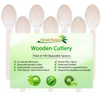 "Disposable Wooden Spoons, 100 Piece, 6"" Length Eco Friendly Biodegradable Compostable Wooden Utensils Wooden Cutlery"