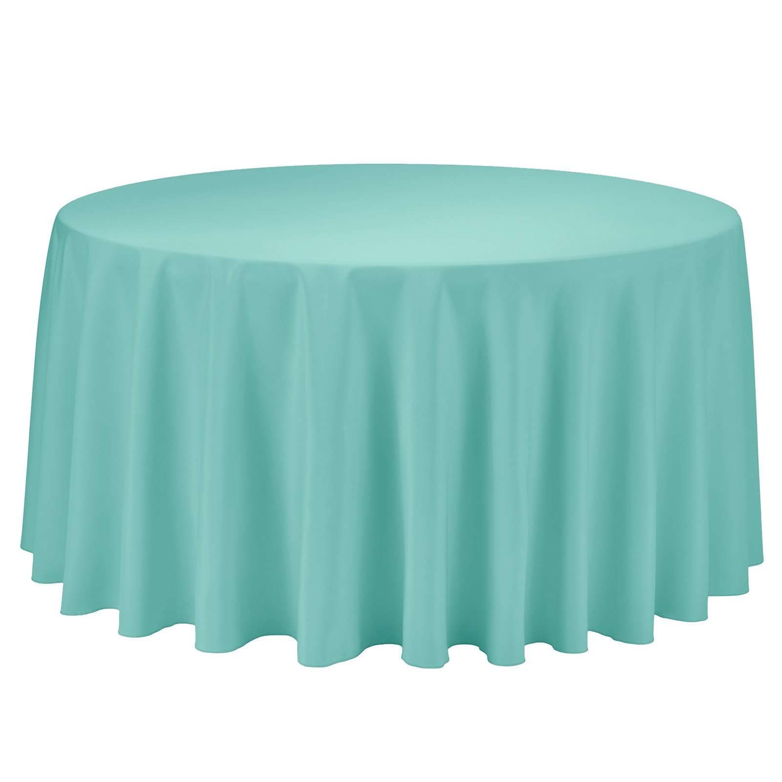 Remedios Round Tablecloth Solid Color Polyester Table Cloth for Bridal Shower Wedding Table – Wrinkle Free Dinner Tablecloth for Restaurant Party Banquet (Turquoise, 108 inch)