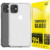 AROMA TREES iPhone 11 case Clear and Black w 2 Screen Protector Tempered Glass Protective Heavy Duty Case with Soft TPU Bumper Case Slim Designed for iPhone 6.1 Inch (2019) - (Pack of 4)