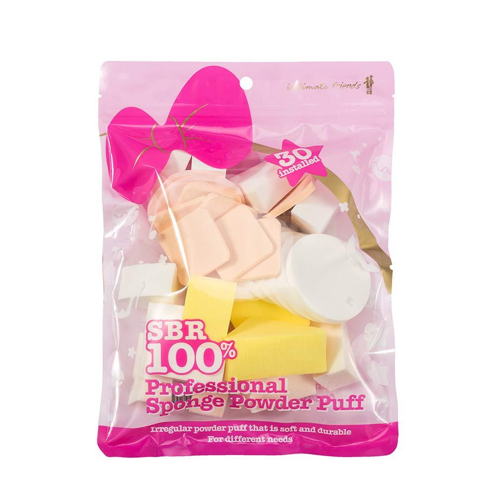 intimate friends ProfessionalPowderPuff - SBR 100% and Irregular Powder Puff - For Powder,Cream or Liquid Application - Multi-colored 30 Pieces