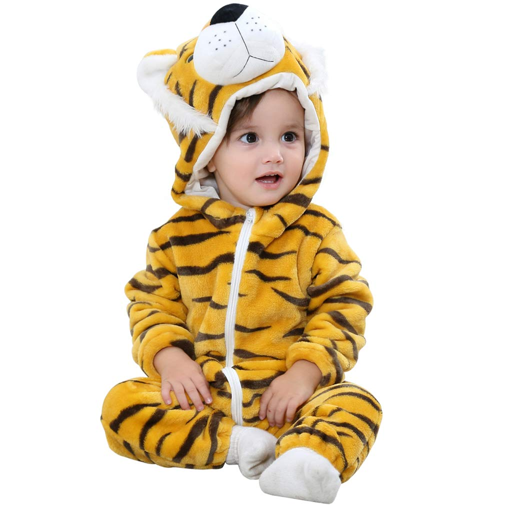 MICHLEY Unisex Baby Animal Costume Winter Autumn Flannel Hooded Romper Cosplay Jumpsuit