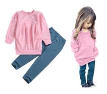 CM C&M WODRO Toddler Girls Clothes Winter Warm Long Sleeve Tops+Long Pants Set