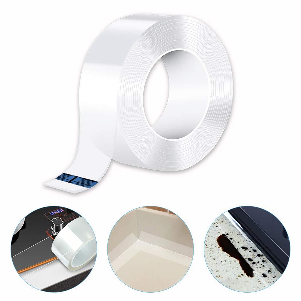 Caulk Tape Strip, Fonday Self Adhesive Waterproof Repair Tape for Kitchen, Bathtub, Bathroom Shower, Toilet, Sink, Gas Stove and Wall Mildew Sealing (1, 59/50 Inch Width x 32.8 Feet Length)