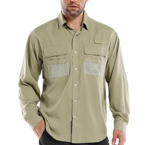 Womens Fishing Shirts UV Sun Hiking Shirts Long Sleeve Quick Dry for Camping Safari Cool Button Down Shirts