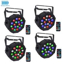 Wireless Stage Lights Package, LaluceNatz 18LED RGB Par Light with Battery Powered 5-15 Hours Playing by DMX IR Remote and Sound Activated for Party Wedding Church Stage Lighting(4pcs)