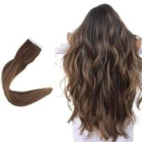 Easyouth 14inch Balayage Color Tape in Extensions Seamless Skin Weft Color 4 Fading to 27 Honey Blonde Highlighted with 4 Brown Straight Hair Human Hair Tape on Hair Extensions 80 Gram