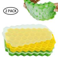 IHUIXINHE Ice Cube Trays, Flexible Silicone Ice Cube Molds with Removable Lid, 37 Grids Honeycomb Shaped, Cold Drink Ice & Candy &Chololate Making Mold, for Chilled Drinks, Whiskey & Cocktails (2PC)