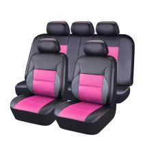 NEW ARRIVAL- CAR PASS 11PCS Luxurous Leather Universal Car Seat Covers Set,Universal fit for Vehicles,Cars,SUV,Airbag Compatible (Black And Rose Pink)