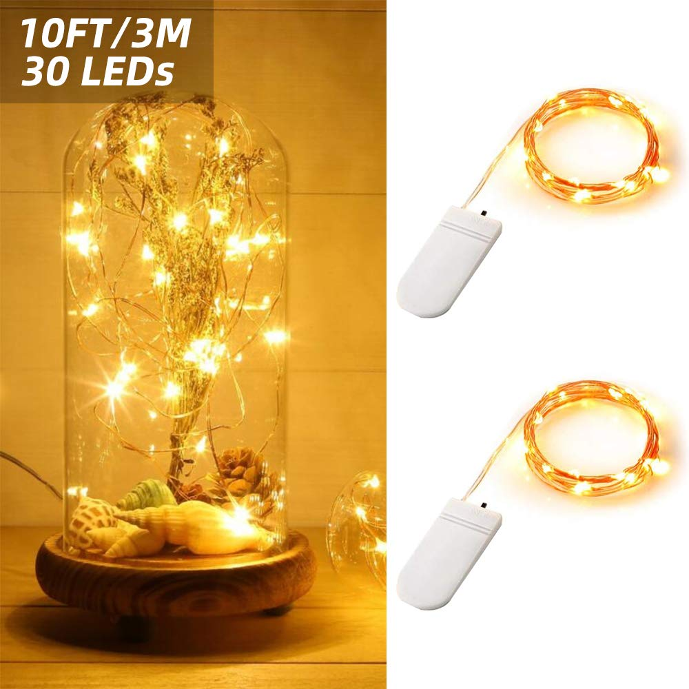 ANJAYLIA Fairy String Lights 2 Pack 10ft 30LED Firefly Lights Battery Operated Silver Coated Copper Wire Starry Fairy Lights for Halloween Christmas Decoration, Warm White