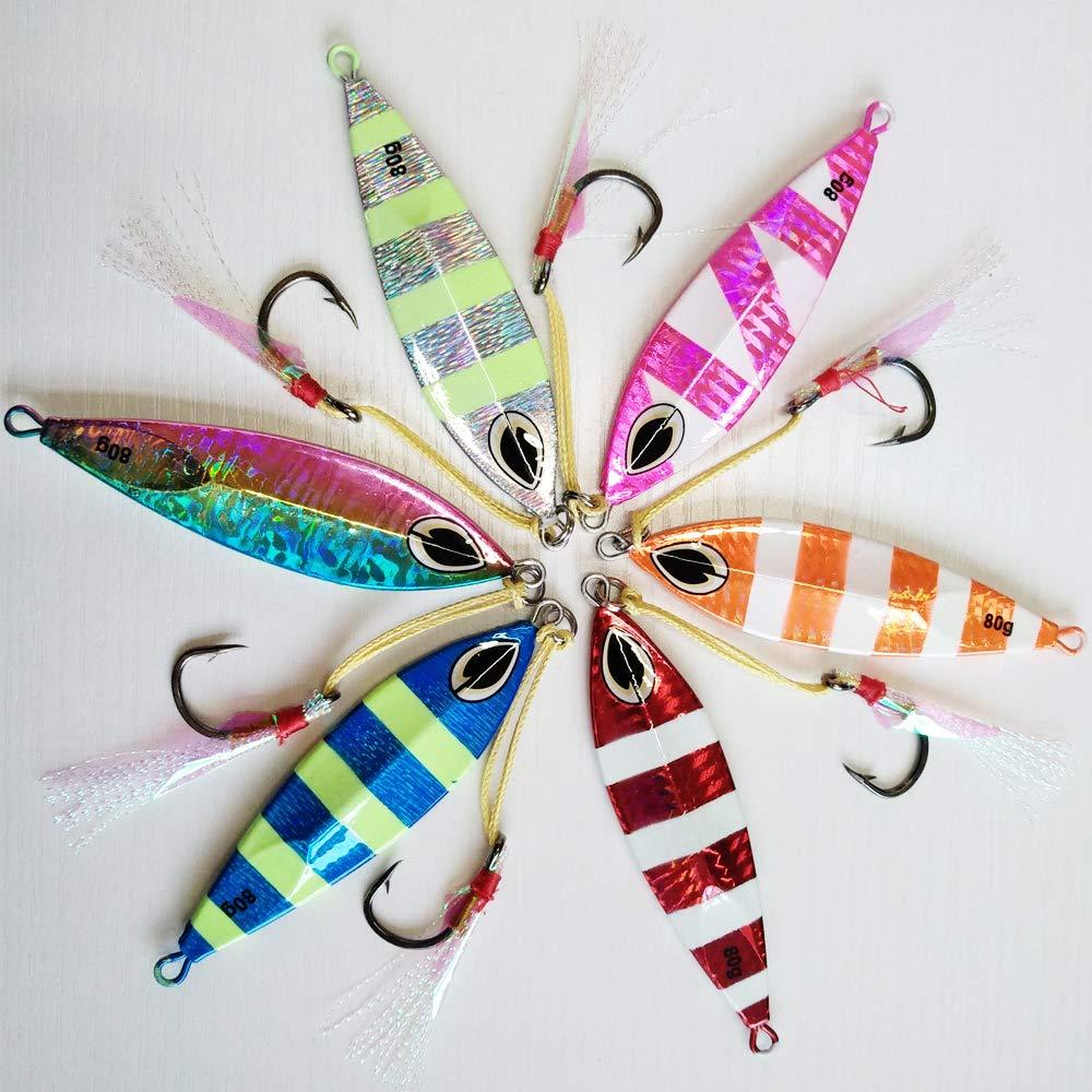 kmucutie 6 pcs mixde Colors Fishing Lures Sinking Metal Lead Slow Jigging Fishing Lures Lead Fish baits with Hook Glow jigs in Dark
