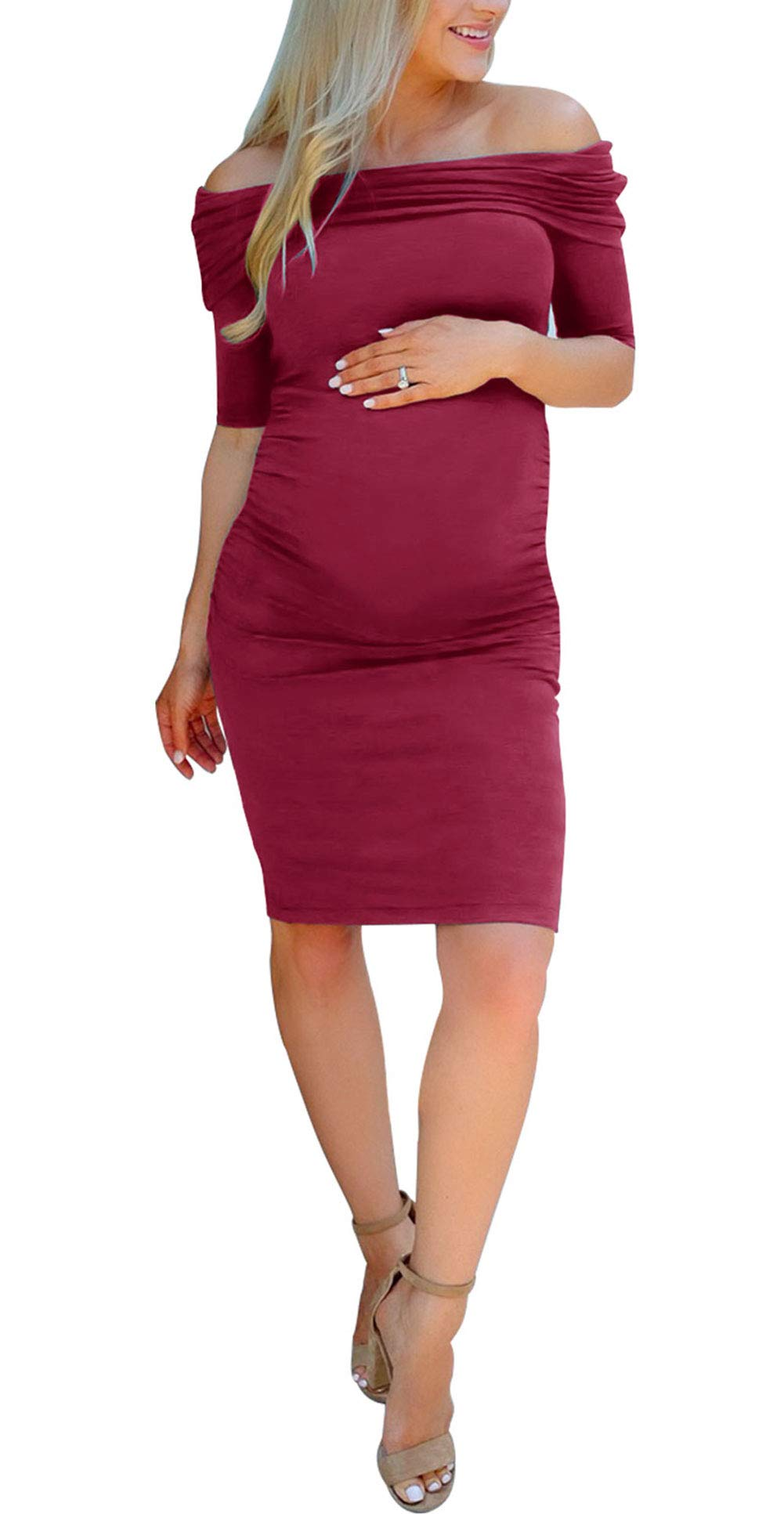 LEANI Women's Off Shoulder Short Sleeve Ruched Maternity Dress for Photography Baby Shower