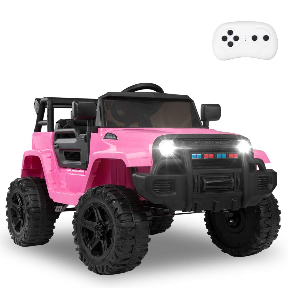 JOYMOR Ride on Truck with Remote Control, 4 Wheels 12V Battery Powered Kids Car, with LED Headlight/Horn Button/ MP3 Player/USB Port/ Forward Backward/Kids Girl Boy (Pink)