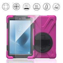 Gzerma for Fire HD 8 Case 8th Generation with Hand Strap and Screen Protector 2018 2017, 3in1 Childproof Shockproof Rugged Heavy Duty Defender Protective Cover with Kickstand for Amazon Fire HD 8 Tablet 7th Gen/ Kid Editon, Pink for Girl