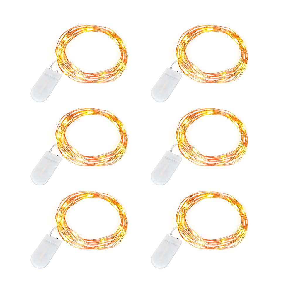 DingDian LED Led String Lights, 6pack 6.6 ft 20 Led Battery Operated Fairy Lights,Mini Copper Wire Waterproof Lights Party Wedding Holiday Decoration, Battery Powered(Included), Warm Light