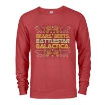 The Office Bears. Beets. Battlestar Galactica Ugly Christmas Lightweight Crew Neck Sweatshirt