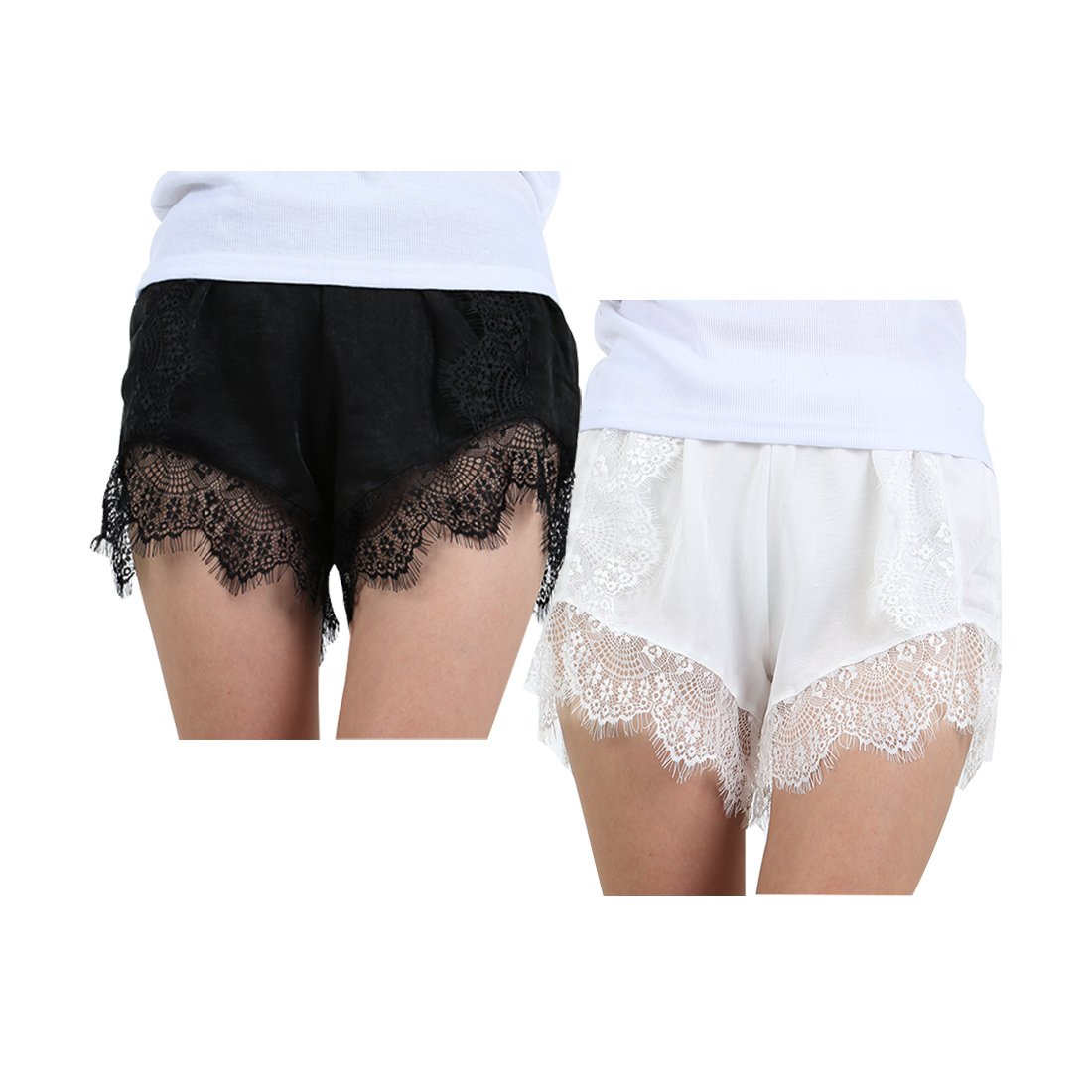 uxcell Women 2 Pack Eyelash Lace Silky Shorts Casual Summer Shorts