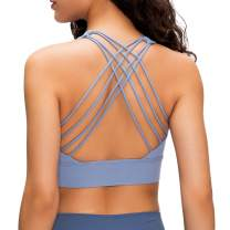 Strappy Sports Bras for Women Longline Padded Medium Support Workout Yoga Bra with Removable Cups