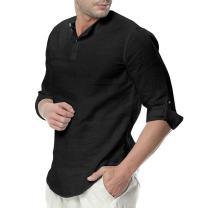 Feel Show Mens Linen Summer Beach Shirts Collarless Henley 3/4 Long Sleeve Yoga Shirt