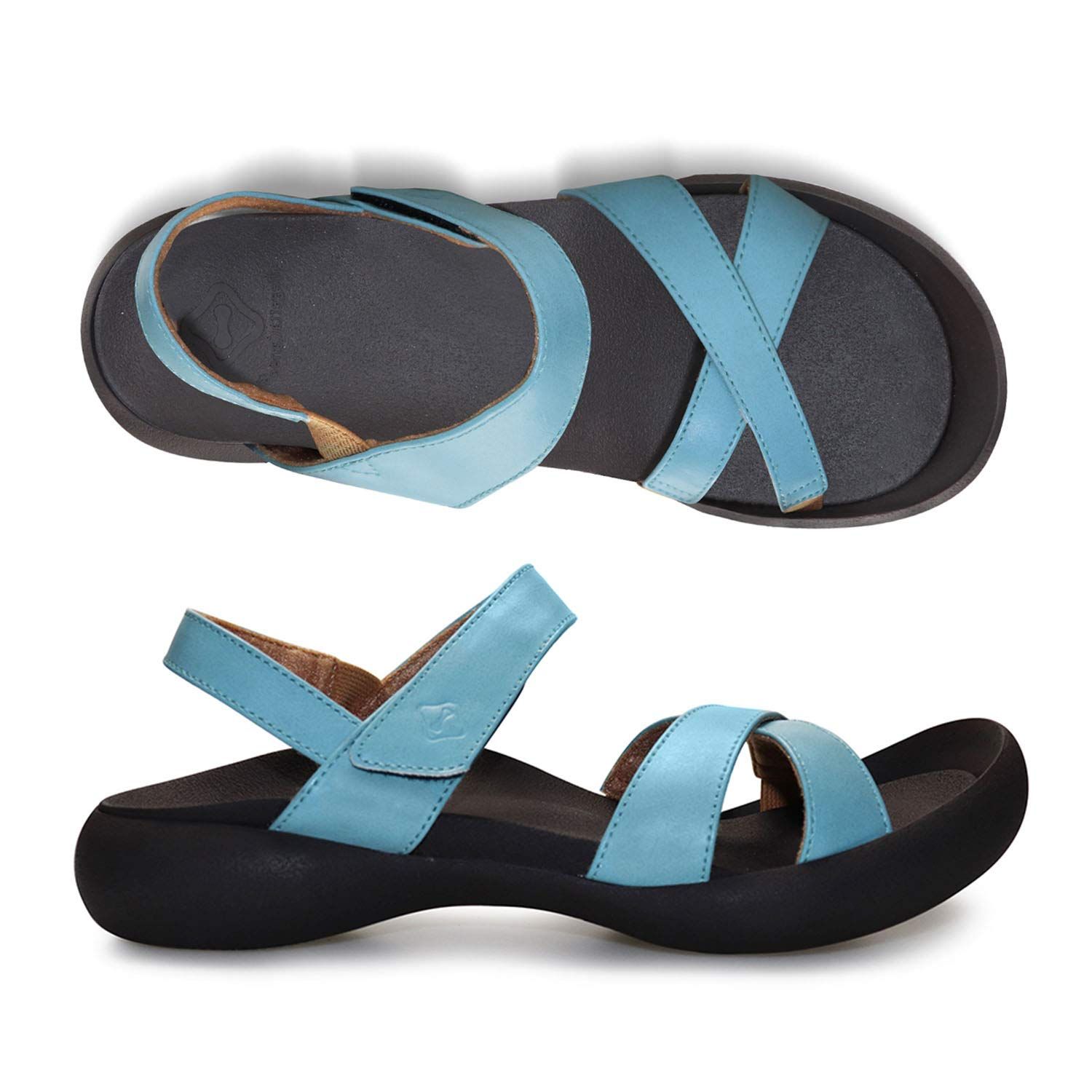 RegettaCanoe Sandals for Women - Field Hudie Ankle Strap Open-Toe Flat Walking Shoes for Women with Orthotic Design That Improves Posture and Corrects Step, Perfect for Everyday Wear