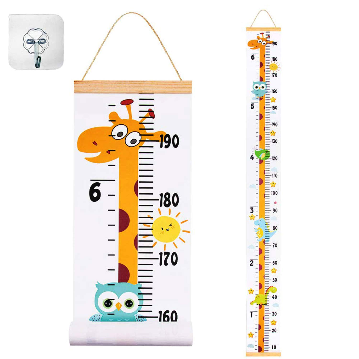 """JJGoo Baby Growth Height Chart Hanging Ruler Wall Decor for Kids, Canvas Removable Height Growth Chart 79"""" x 7.9""""(Giraffe)"""