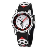 Ovvel Boys Watch – Pretty and Cute Kids Wristwatch with Teaching Analog Display Time Teacher - Japanese Quartz - Black Soccer