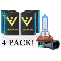 Voltage Automotive H11 Headlight Bulb Polarize White Replacement - Professional Upgrade Head Light Bulb (4 Pack)