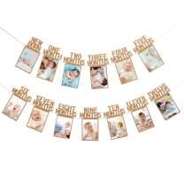 Kraft Paper Baby Photo Banner Newborn to 12 Months 1st Birthday Banner- First Birthday Celebration Decoration Supplies