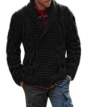 Karlywindow Mens Thick Shawl Collar Double Breasted Cable Knitted Cardigan Sweaters