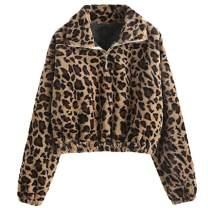 ZAFUL Women's Sherpa Half Zip Pullover Fleece Plaid Leopard Cropped Sweatshirts