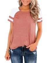 OWIN Women's Color Block T Shirt Crew Neck Raglan Shirt Striped Short Sleeve Casual Fashion Blouse