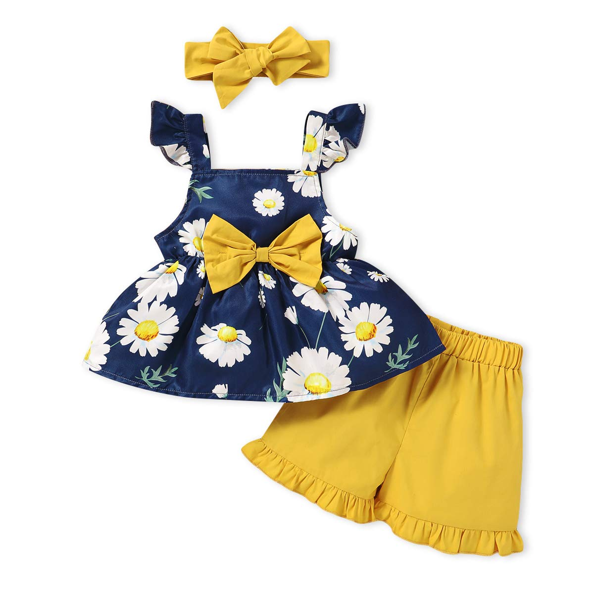 Newborn Baby Girl Clothes Infant Kids Ruffle Vest Tops +Pants Shorts+Headband Outfit Sets