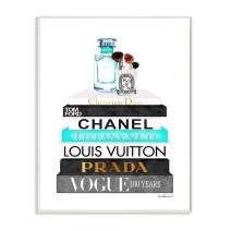 Stupell Industries Book Stack Perfume Brushes Glam Fashion Watercolor Wall Plaque, 13 x 19, Design by Artist Amanda Greenwood