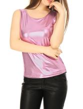 Allegra K Women's U Neck Stretchy Slim Fit Shiny Sparkly Metallic Tank Top