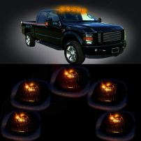 cciyu 5 Pack Black Smoked Cab Roof Top Marker Running Lamps w/Yellow LED Light Bulbs Replacement fit for 94-98 Dodge Ram 2500 3500