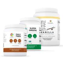 Reset360 Shake Kit Including Super Greens Superfood Diet Protein Powder, Daily Fiber, Vanilla Protein Powder All-in-One Meal Replacement Shake