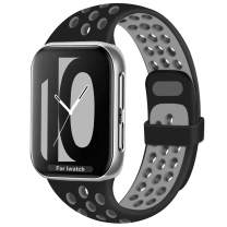Geoumy Bands Compatible for Apple Watch Band 42mm 44mm, Soft Silicone Sport Replacement Wristband Compatible with iWatch Series 1/2/3/4/5/6/SE,S/M Black Gray