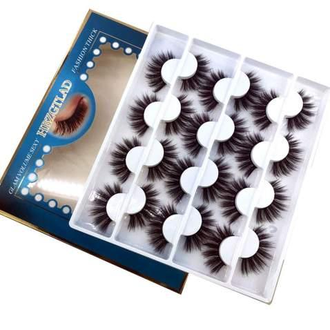HBZGTLAD 12 pairs 3D Mink Lashes Natural False Eyelashes Dramatic Volume Fake Lashes Makeup Eyelash Extension Silk Eyelashes (C-1)