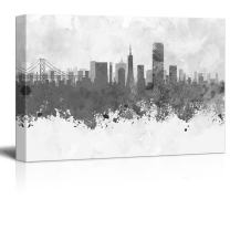 wall26 - Black and White City of San Francisco Golden Gate with Watercolor Splotches - Canvas Art Home Decor - 16x24 inches