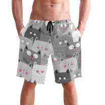 visesunny Funny Cat Pattern Men Beach Shorts Hot Summer Swim Trunks Sports Running Bathing Suits with Mesh Lining
