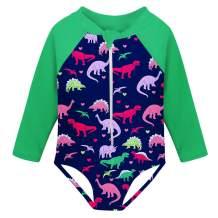 Fanient Girls Rashguard Swimsuit Quick Dry Swimwear UPF 50+ Long Sleeve One Piece Bathing Suit with Zipper 1-6T