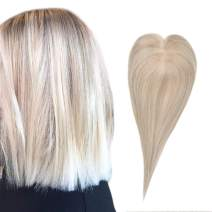Full Shine Hair Topper 12 Inch Color 18 Highlighted Color 613 Blonde Remy Hair Extensions Clip In Hair Crown Extensions Real Human Hair Extensions Straight Hairpiece For Women With Thinning Hair