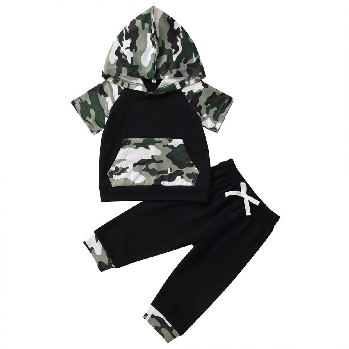 Baby Boys Camouflage Clothes Letter Short Sleeve Hooded T-Shirt Cool Tops Pants Summer Outfit Set