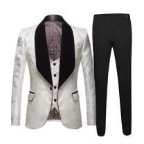Men's Suits 3 Piece Tuxedos Slim Fit Jacquard Suit Shawl Lapel Blazer Jacket Vest Trousers Dinner Wedding White