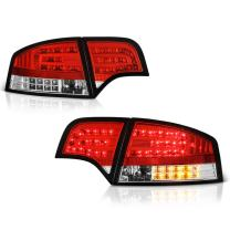 VIPMOTOZ Red Lens Premium LED Tail Light Housing Lamp Assembly For 2005.5-2008 Audi A4 & S4 Sedan Driver and Passenger Side Replacement